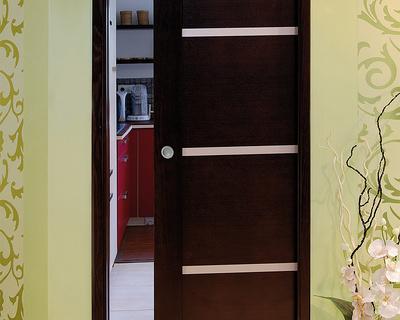 Porte à galandage - bois avec inclusions