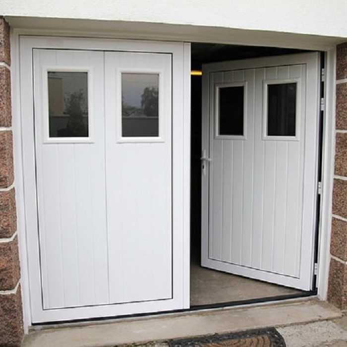 Porte de garage ouverture à la française vers l''intérieur 0