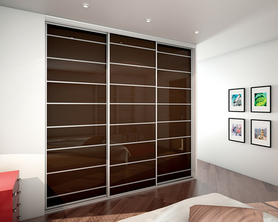Dressing aux portes coulissantes laquées couleur chocolat