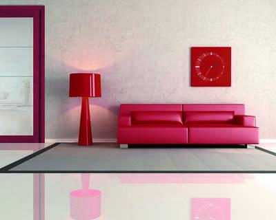 Porte intérieure rouge et verre sablé