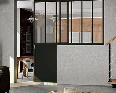 Séparation de pièce porte verrière fixe