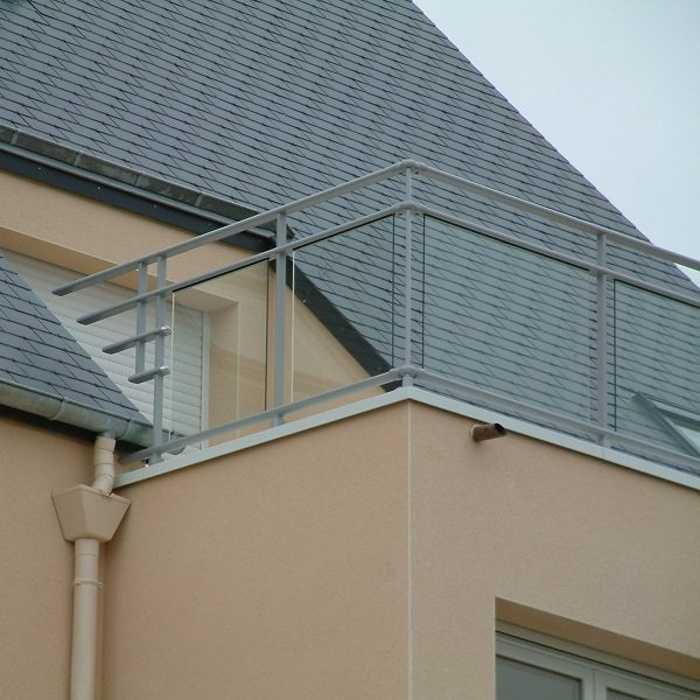 Balcon - garde-corps aluminium vitré clair 0