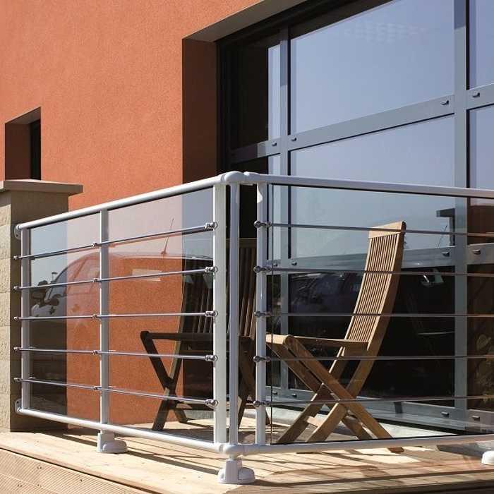 Garde-corps balcon - aluminium vitré et lisses inox 0