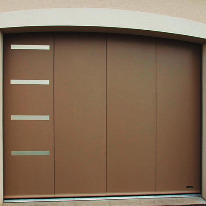 Porte de garage sectionnelle latérale plygrain lisse 0