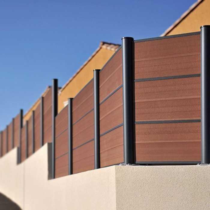 Clôture panneaux composite bruns 0