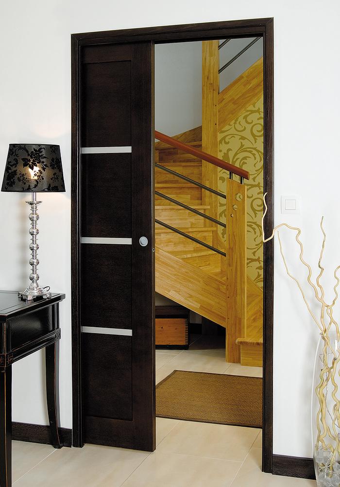 Porte à galandage - bois et inclusions- Modèle Ambiance 0