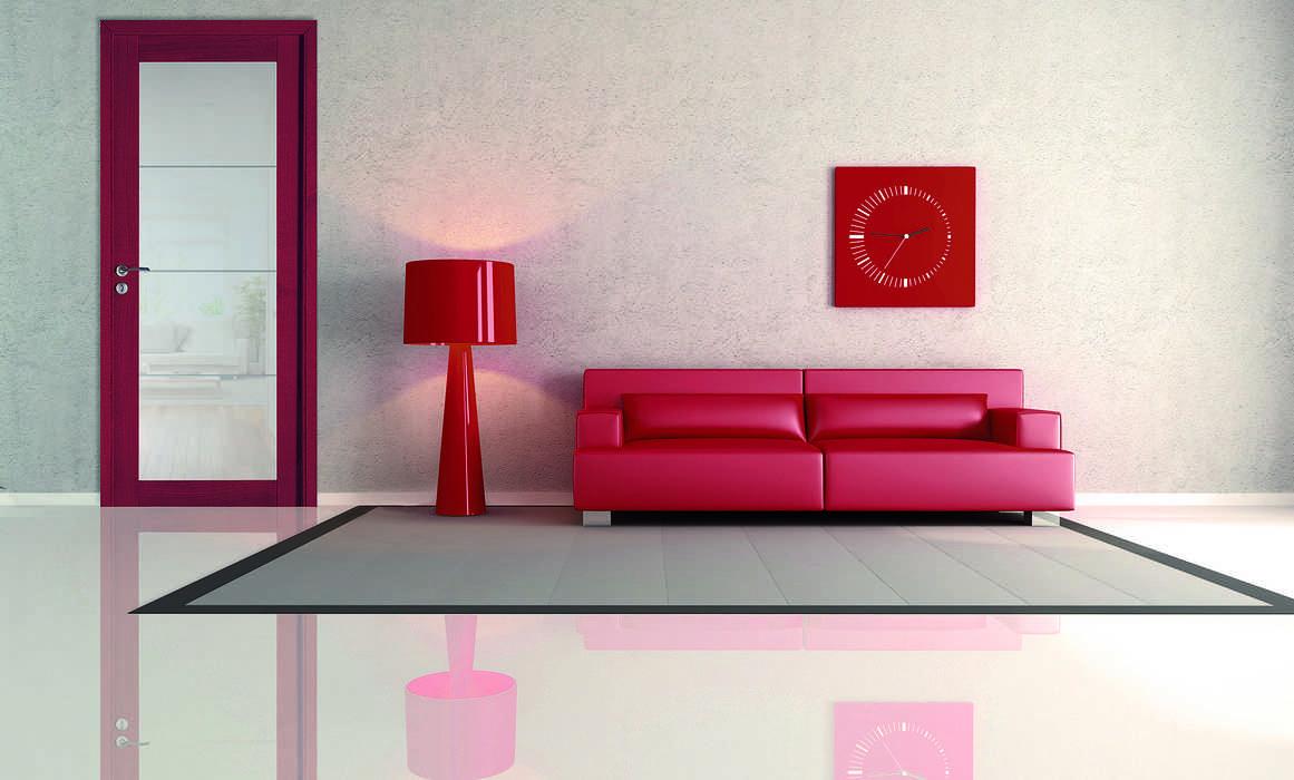 Porte intérieure rouge et verre sablé 0