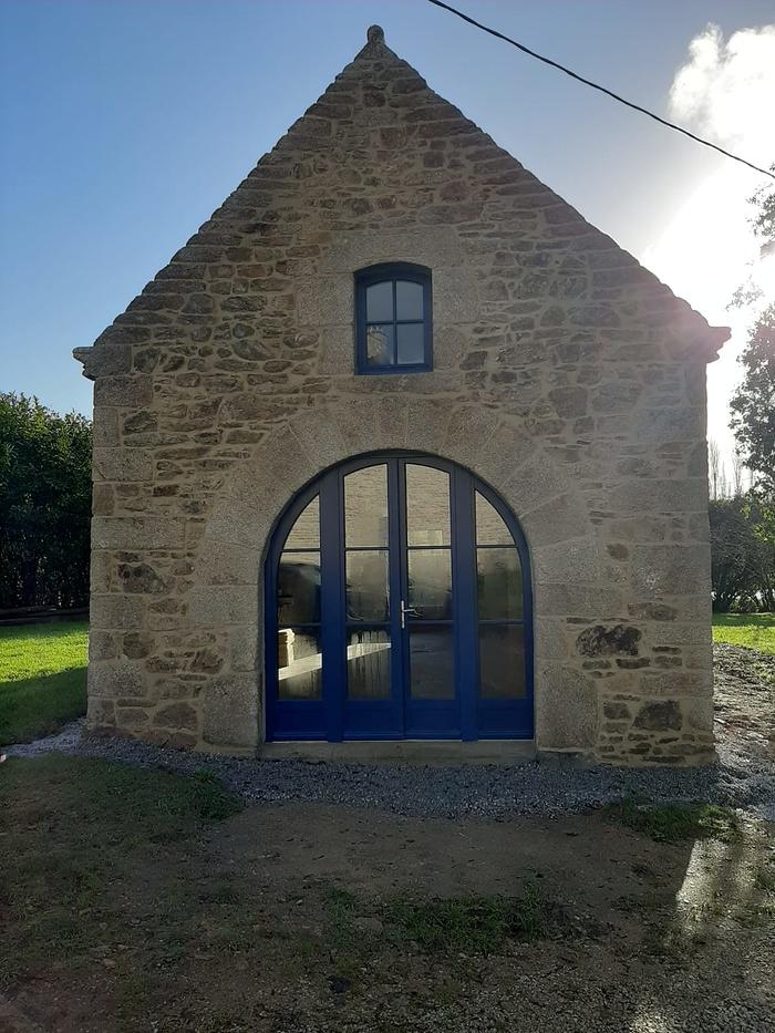 Rénovation porte entrée bois - vitrée et cintrée très grand format 0